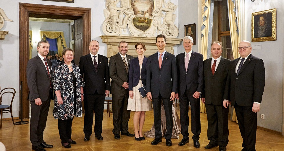 From the left: Martin Plachý, member of the board ; JJ Maria-Pia Kothbauer, Ambassador of Liechtenstein in Austria and the Czech Republic; Michal Růžička, spokesman of the Prince of Liechtenstein Foundation; Richard Svoboda, Chairman of the board; Jana Tepperová, member of the board; Hereditary Prince Alois of Liechtenstein; Jiří Balaštík, Vice-Chairman of the Board; Pavel Juřík, member of the Board; Daniel Herman, Honorary Chairman